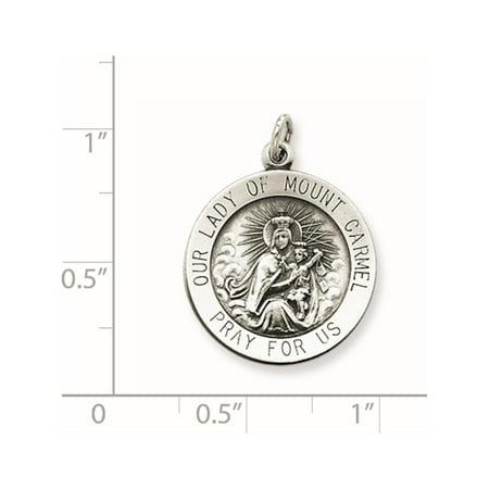 925 Sterling Silver Antiqued Our Lady of Mount Carmel Medal - image 2 de 2
