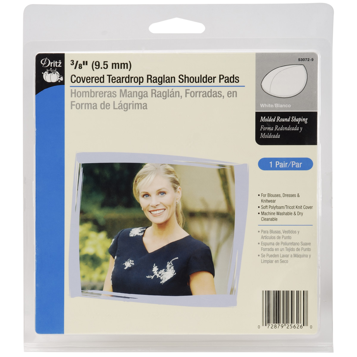 "Dritz 3/8"" Covered Teardrop Raglan Shoulder Pads 2/Pkg-White"