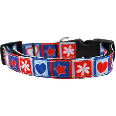 Mirage Pet 125-262 XS Stars & Hearts Nylon Dog Collar, Extra Small