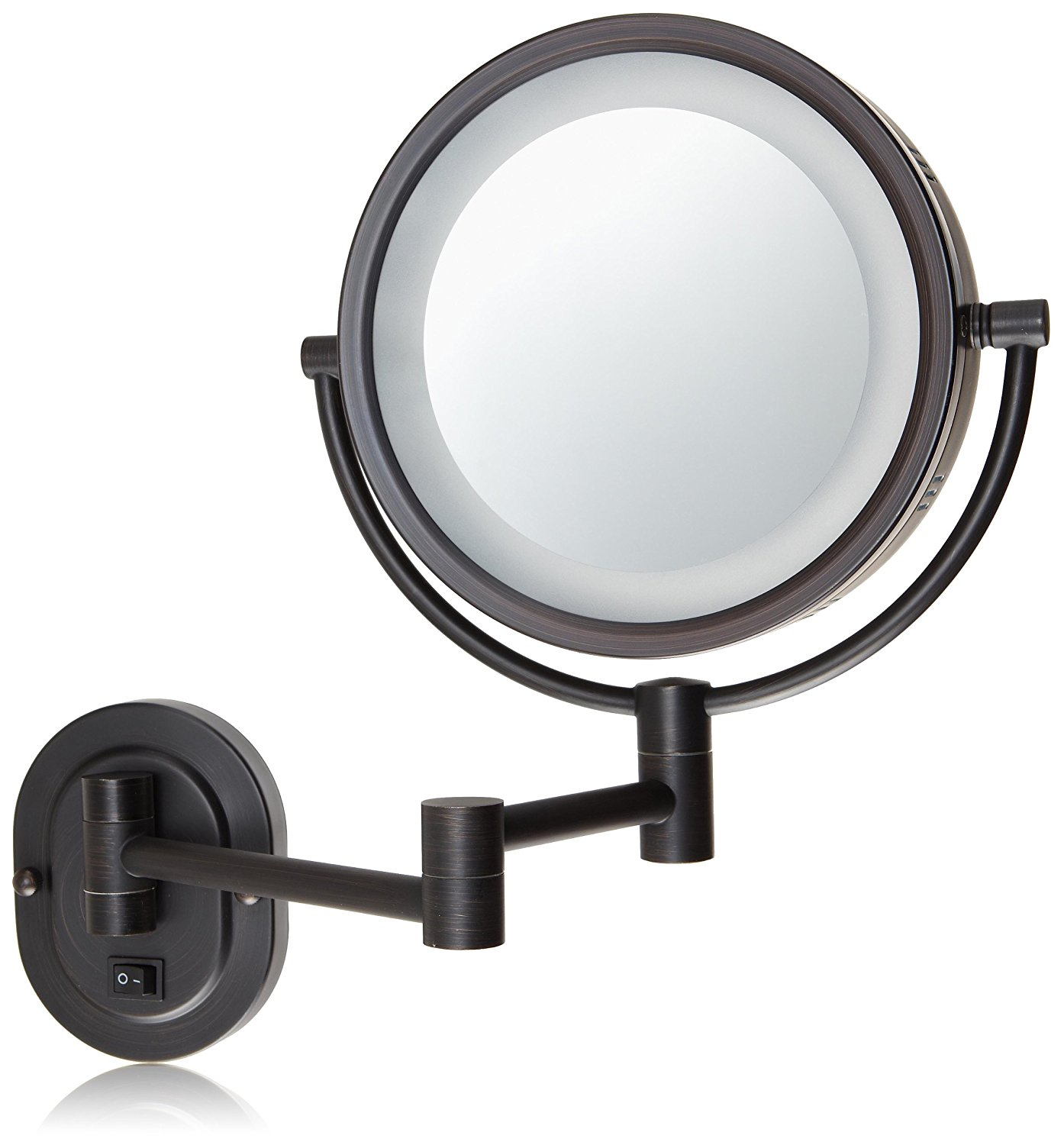 Hl65bzd 8 Inch Lighted Direct Wire Wall Mount Makeup Mirror With 5x Magnification Bronze Finish 14 Extension And