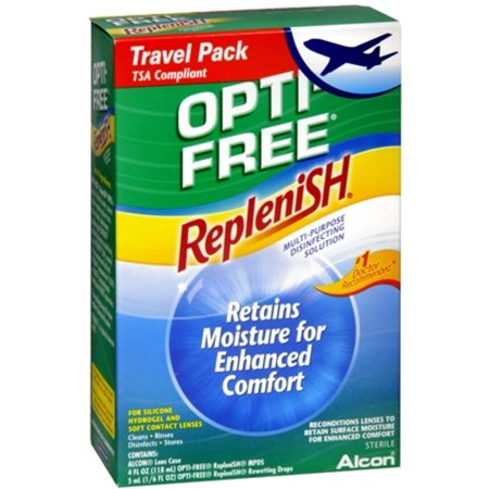 ALCON OPTI-FREE REPLENISH Contact Lens Care Cleaning & Disinfecting Solution Convenience Pack (4 fl oz; 5mL drop & Lens Case)