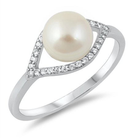 Simulated Pearl Bead Center Clear Cubic Zirconia Eye Design Ring Sterling Silver Size 6
