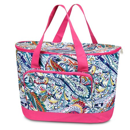 Large Insulated Cooler Bag By Zodaca Fashionable Tote Carry Box Food Storage For Camping Beach Travel Multi Color Paisley