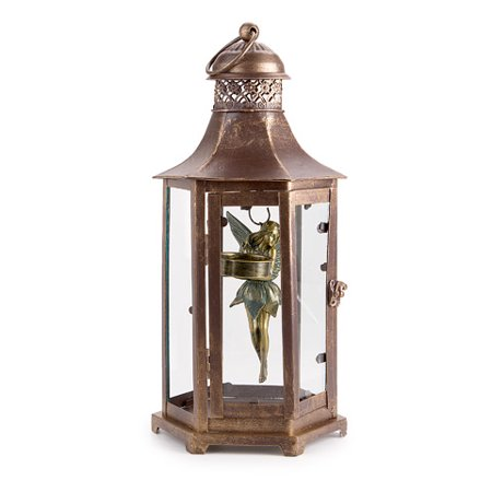 Lantern with Fairy and Tea Light - Metal - Bronze - 6.7 x 14