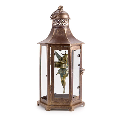 Lantern with Fairy and Tea Light - Metal - Bronze - 6.7 x 14 inches