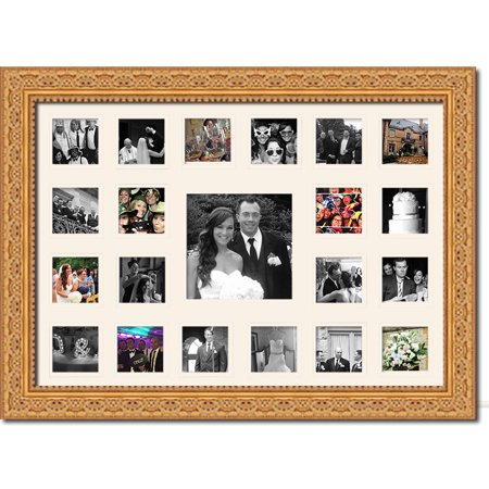 Wedding Photo Collage Frame - Holds 21 Photos - Great For Pics Captured by Friends & Family (Yellow Picture Frame From Friends)