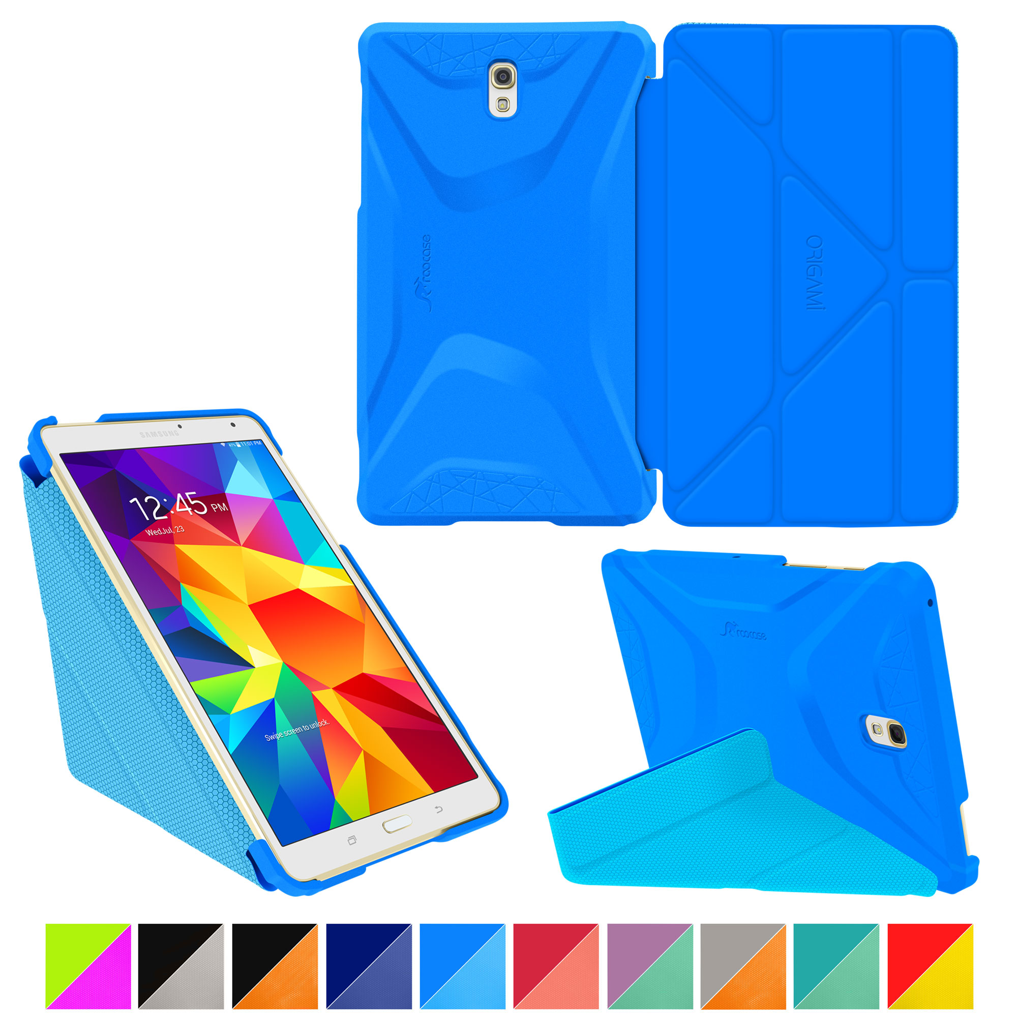 Galaxy Tab S 8.4 Case, Samsung Galaxy Tab S 8.4 case, rooCASE Origami (3 Way Stand) Slim Shell Lightweight Tablet Folio Smart Cover Pac Blue