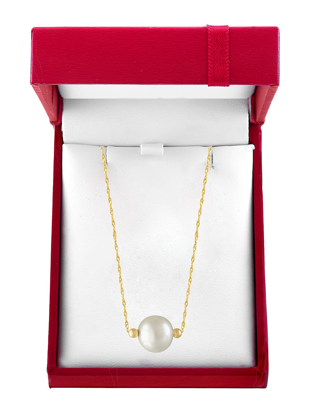 Red Box 10MM White Pearl and 14K Yellow Gold Necklace