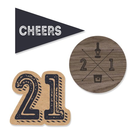 Finally 21 - 21st Birthday - DIY Shaped Party Cut-Outs - 24 Count (21st Birthday Pin)