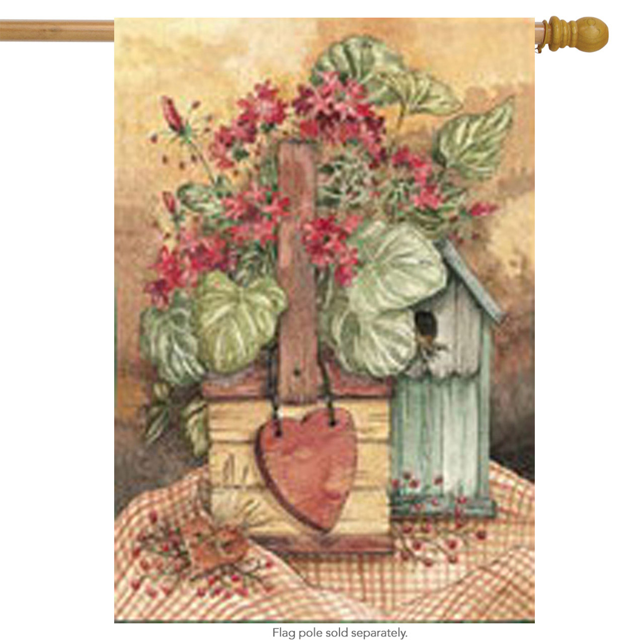 "Summer Favorite House Flag Birdhouse Floral Heart 25"" x 37"""