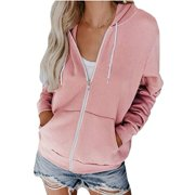 Womens Zip Up Hoodies Plain Casual Fleece Soft Jackets With Pockets