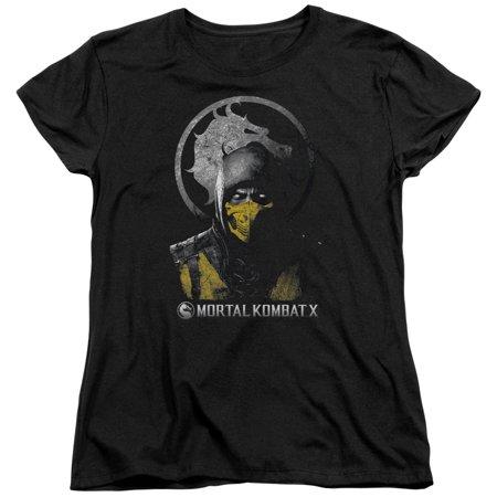 Mortal Kombat X Scorpion Bust Womens Short Sleeve Shirt](Mortal Kombat X Halloween Tower)