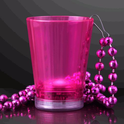 Light Up Pink Shot Glass on Pink Beaded Necklace