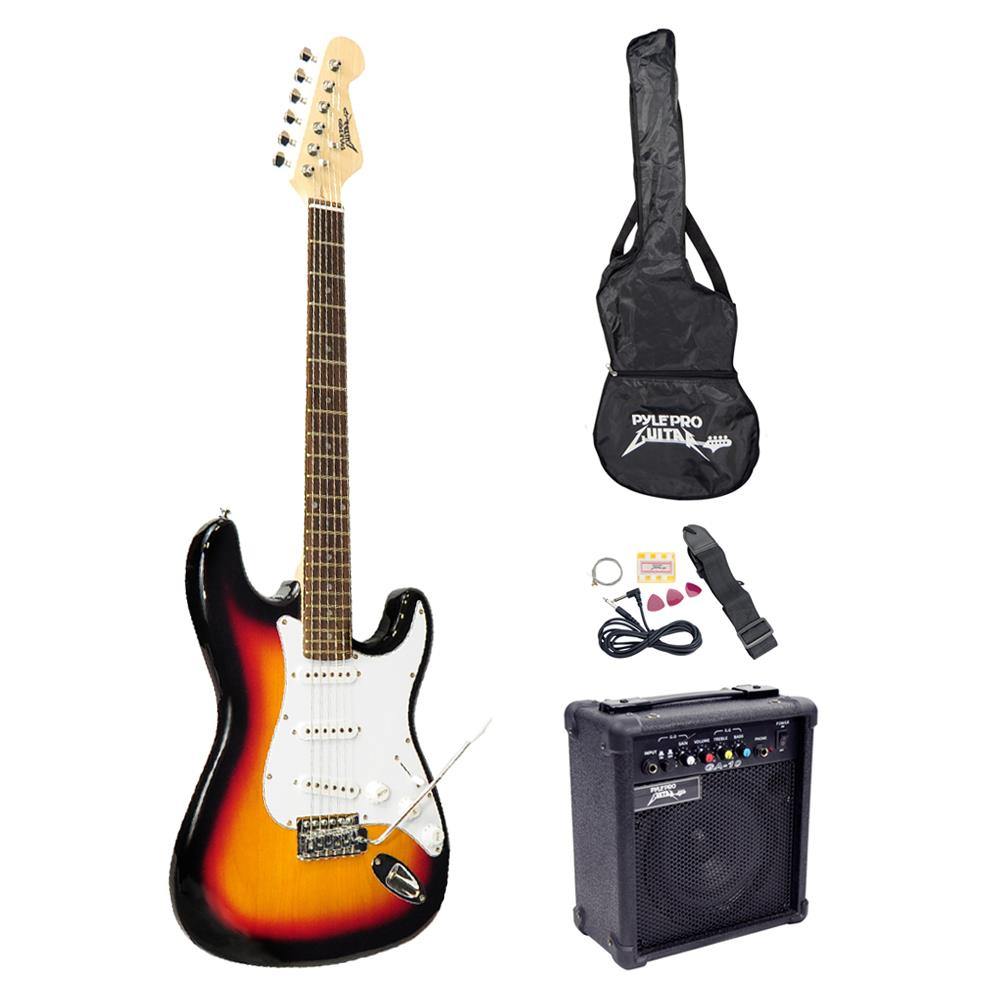Pyle PEGKT15SB - Beginners Electric Guitar Kit, Includes Amplifier & Accessories (Sunburst)