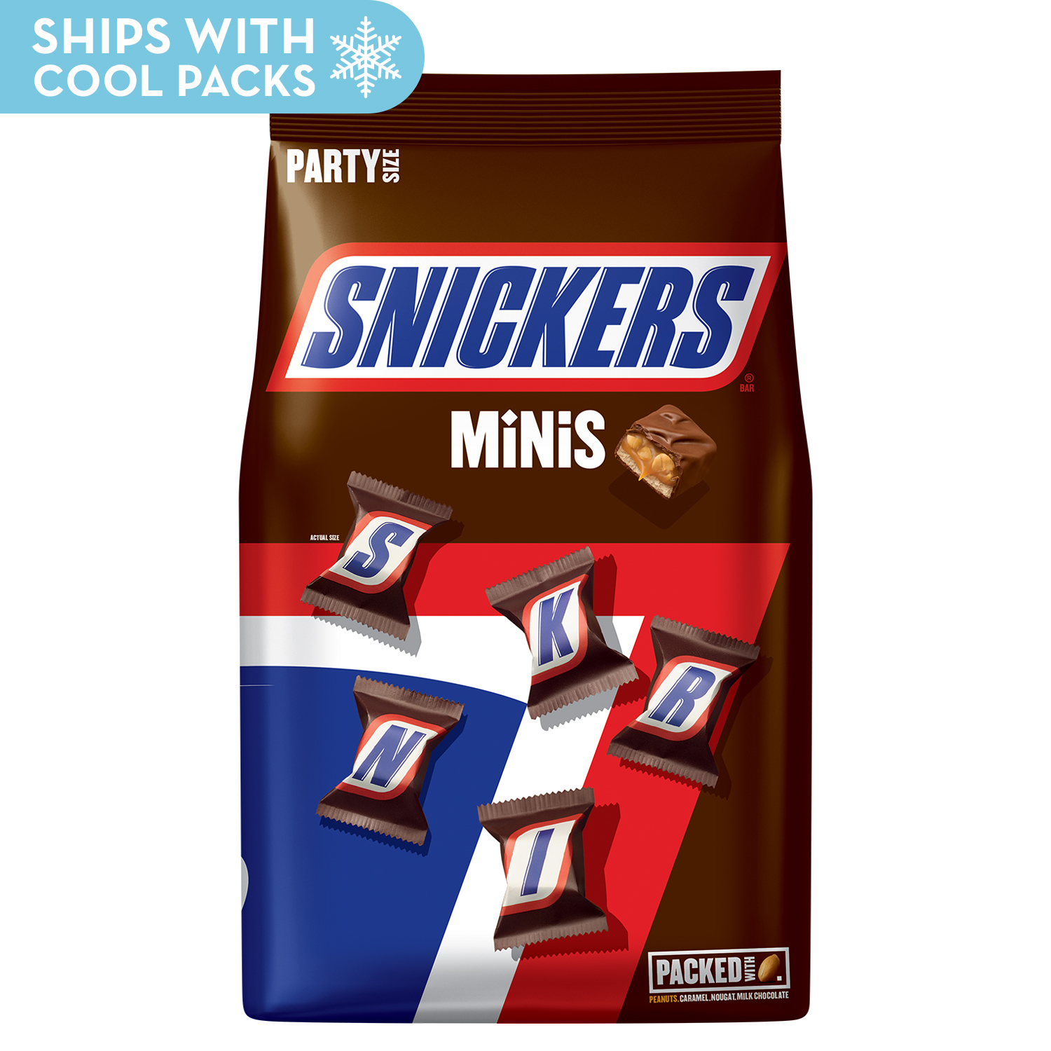 SNICKERS Minis Size Chocolate Bars Candy Bag, 40 oz