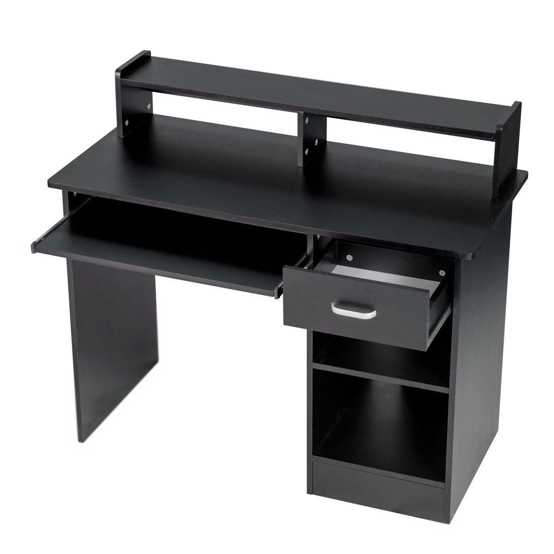Black computer Desk Small Office Desk Work Table with Keyboard Tray and Drawer