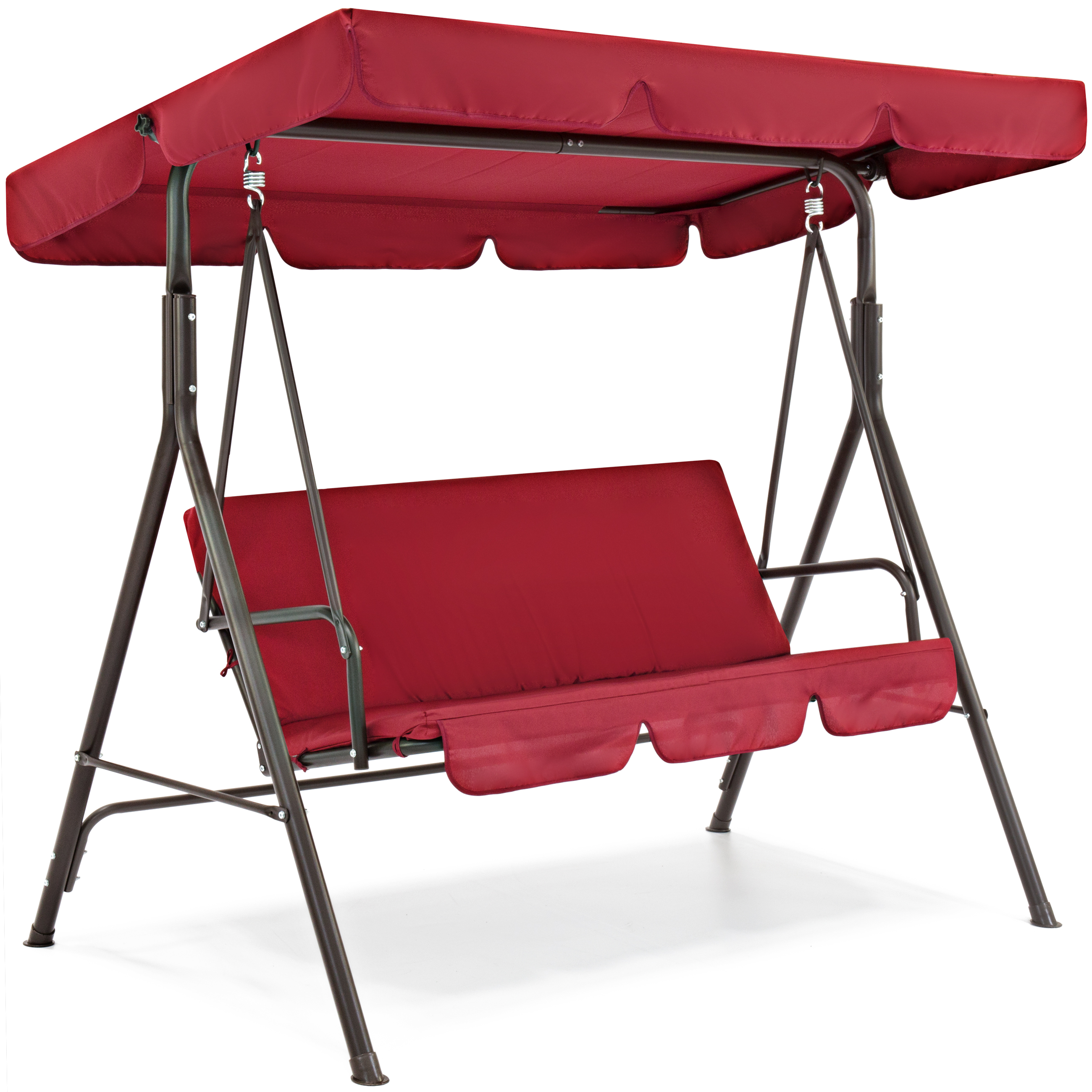 best choice products outdoor 2 person patio canopy swing w plush cushions weather resistant