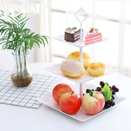Cupcake Party Plates (3 Tier Cake Stand Fruit Tray Cupcake Stand Dessert Stand Wedding Event Party Display Tower Plate For Wedding Party Display White)