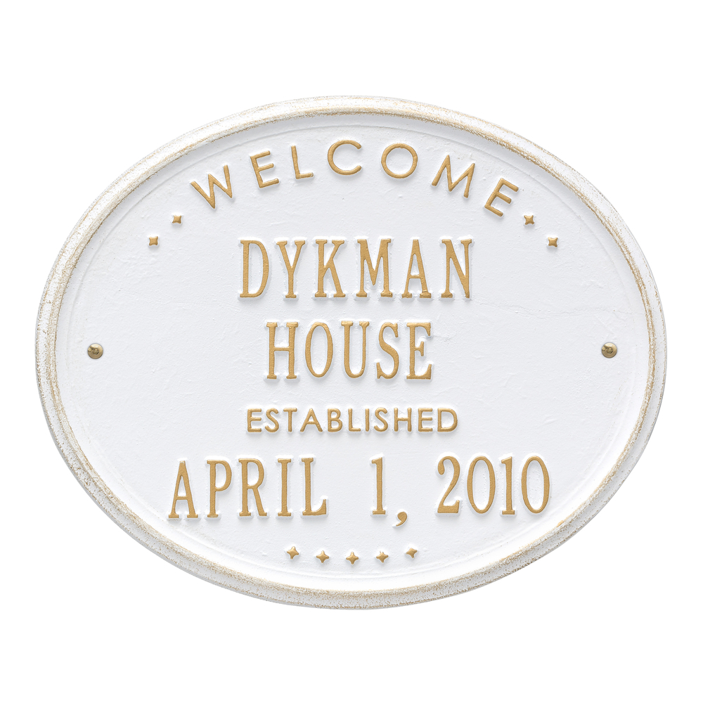 Personalized Whitehall Products Oval Welcome House Plaque with White/Gold Finish
