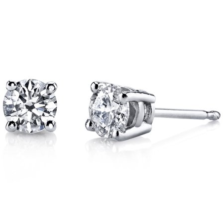 1 Carat Total Lab Grown Diamond Stud Earrings in 14K Gold, F-G Color, SI-I Clarity