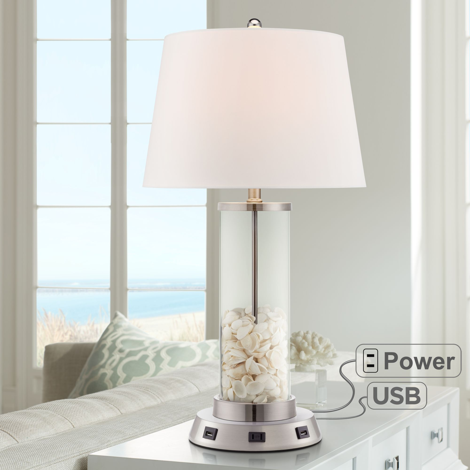 360 Lighting Modern Table Lamp With Usb And Ac Power Outlet Workstation Charging Base Fillable Clear Glass Drum Shade Living Room Walmart Com Walmart Com