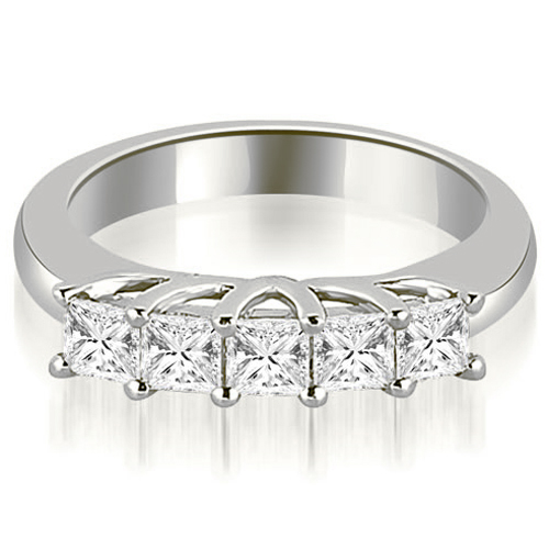 0.60 CT.TW Five Stone Princess Cut Diamond Wedding Band in 14K White, Yellow Or Rose Gold
