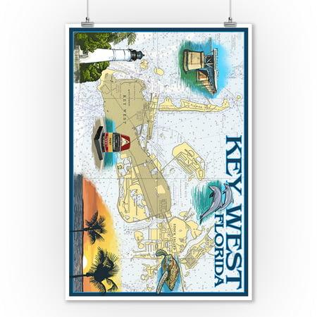 Key West, Florida - Nautical Chart - Lantern Press Artwork (9x12 Art Print, Wall Decor Travel Poster)