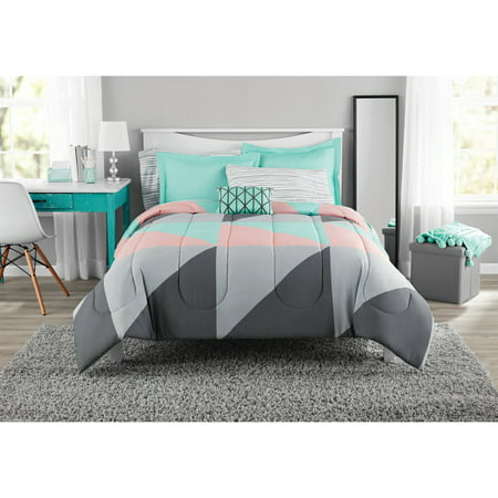 mainstays gray and teal bed in a bag forter set walmart