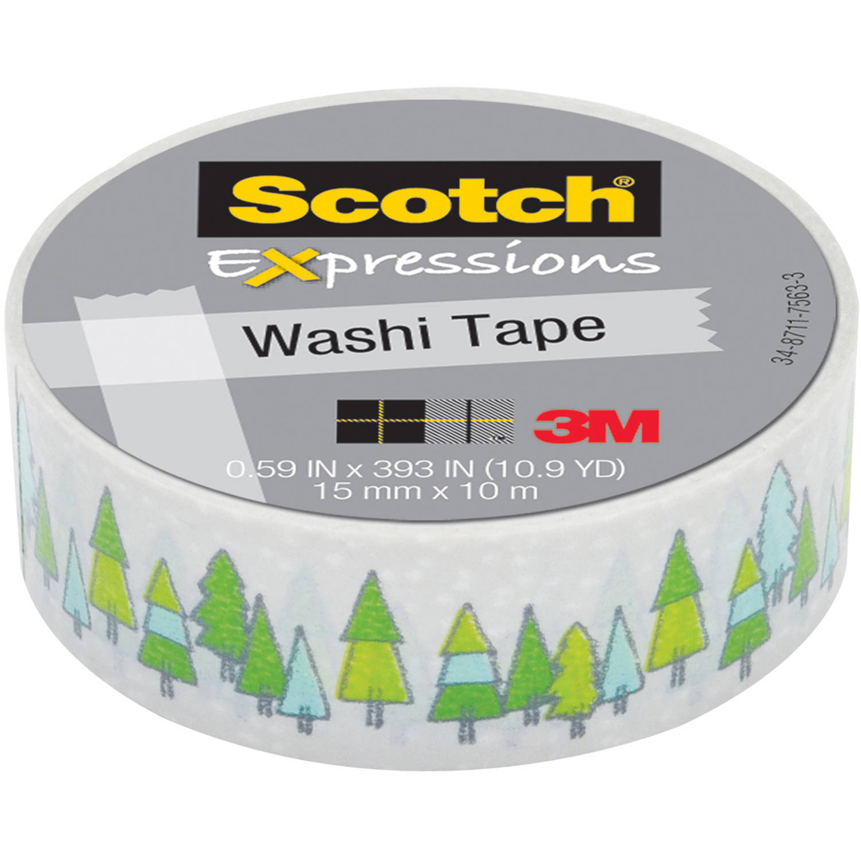 "Scotch Expressions Washi Tape, .59"" x 393"", Pine Trees"