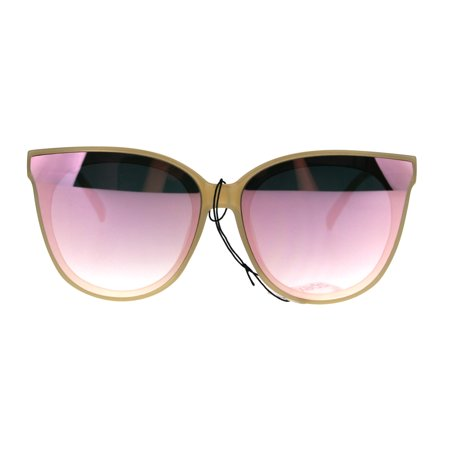 Cats Pink Eye (Womens Panel Color Mirror Lens Horned Cat Eye Retro Sunglasses Beige Pink)