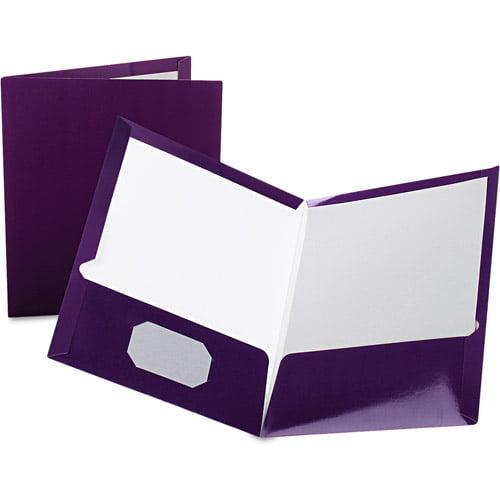 Oxford High Gloss Laminated Folders, 100-Sheet Capacity, Box of 25