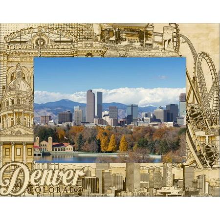 Denver Colorado Laser Engraved Wood Picture Frame (5 x 7) (Colorado Pictures)