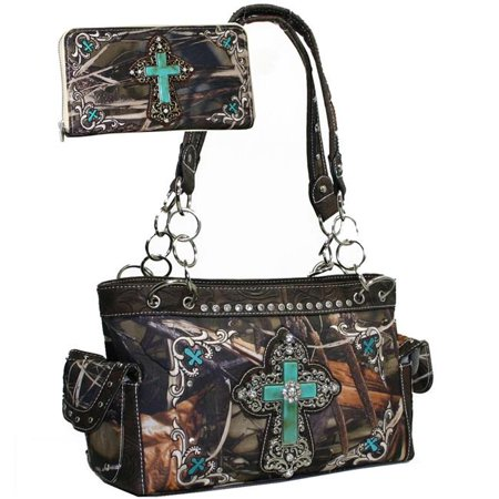 Gold Rush CRL682WC82SET-CAM - BRN Western Camouflage Embroidered Cross Purse Wallet Set with Brown Trim - Cam & Brown (Camouflage Purse And Wallet Sets)