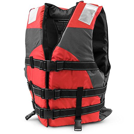 - Crown Sporting Goods Personal Sports Flotation Device Life Vest, Hi-Visibility Reflective Panels, Red