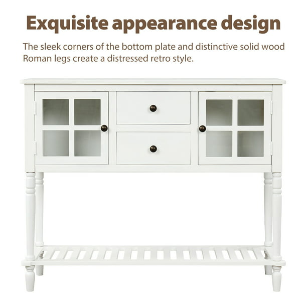 42 X 14 X 34 Tall Wood Console Table With 2 Storage Drawers And 2 Glass