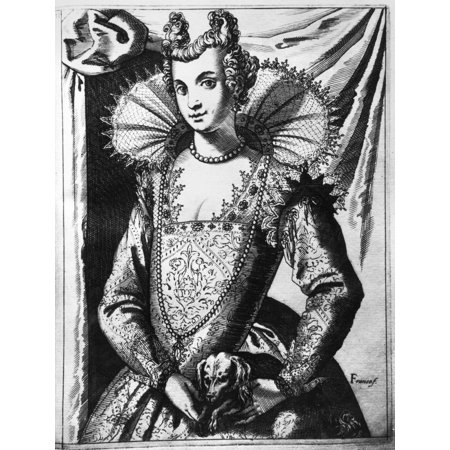 Venetian Woman C1600 Nvenetian Woman Line Engraving From Giacomo Francos Habiti Delle Donne Venetiane  Costumes Of Venetian Women  C1600 Rolled Canvas Art     18 X 24