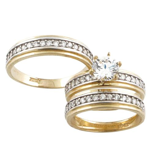 10k Yellow Gold Cubic Zirconia 'His and Her' Wedding Band Set Womens 8, Mens 11