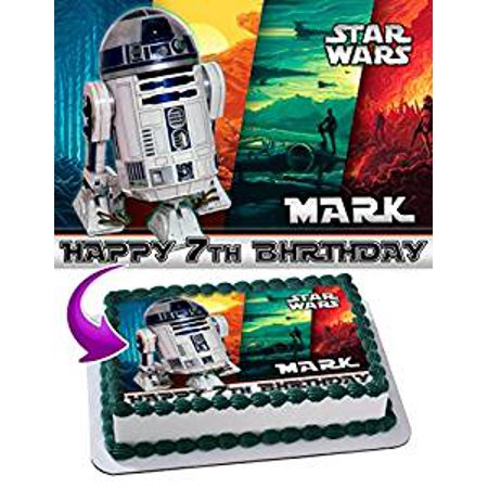 Star War R2d2 Edible Image Cake Topper Personalized Birthday 1 4 Sheet Decoration Custom