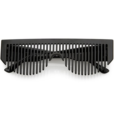 Novelty Retro Comb Sunglasses Wide Arms 56mm (Black) ()