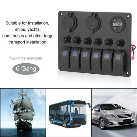 Gang Fuse Panel - Waterproof 6 Gang Switch Panel Car Marine Boat Circuit On/Off Rocker Switch