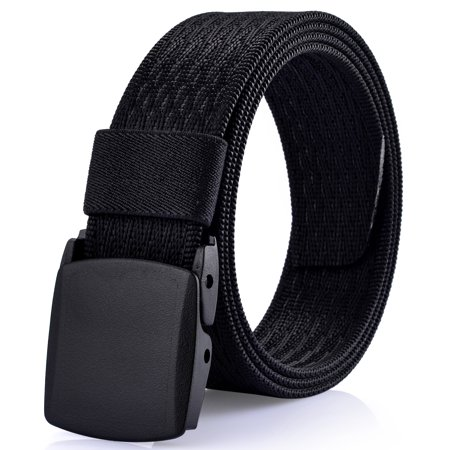 Men's Casual Dress Belt No Metal Parts Plastic Buckle Quick Security Clearance Nylon Webbed (Security Buckle)