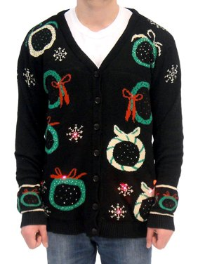 Ugly Christmas Sweater Wreath Adult Black Cardigan Vest with Flashing Lights