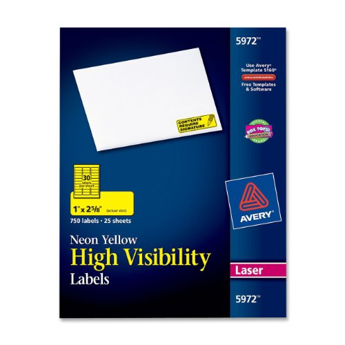 "Avery High Visibility Labels - 1"" Width X 2.62"" Length - 750 / Pack - Rectangle - 30/sheet - Laser - Yellow (AVE5972)"