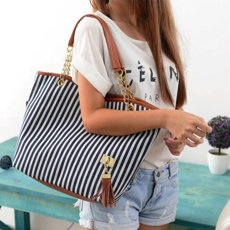 HC-TOP Womens Canvas plaid Handbags Girls Tote Satchel Beach Shoulder shopping Bags - image 4 de 6