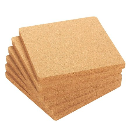 6-Pack Cork Trivet Set - Square Corkboard Placemats Kitchen Hot Pads For Hot Pots, Pans, And Kettles, 7 X 7 X 0.5 Inches