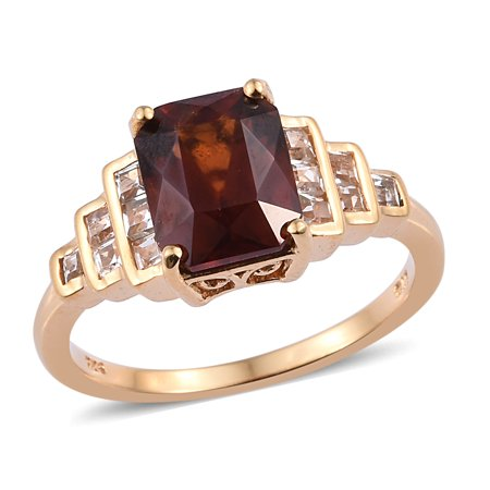 Shop LC Delivering Joy 925 Sterling Silver Vermeil Yellow Gold AAA Premium Hessonite Garnet White Topaz Promise Ring for Women Jewelry Gift Size 8 Ct