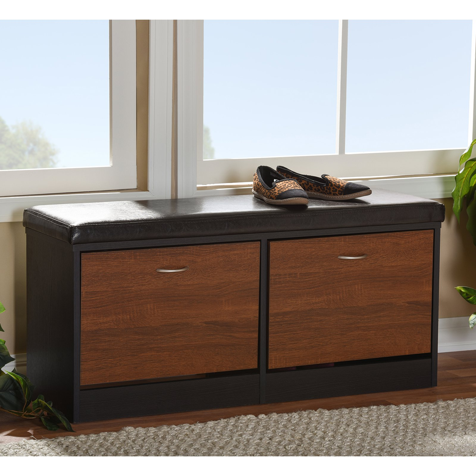 Baxton Studio Foley Modern and Contemporary 2-Tone Dark Brown and Oak Finishing Entryway Storage Cushioned Bench Shoe Rack Cabinet Organizer