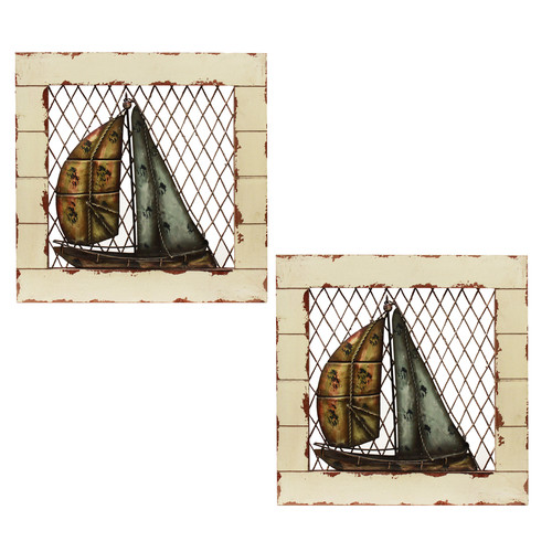 EC World Imports 2 Piece Urban Designs Sail Boat Wall D cor Set by ecWorld