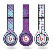 Purple & Teal Skins for Beats Solo HD Headphones – Set of 3 Patterns