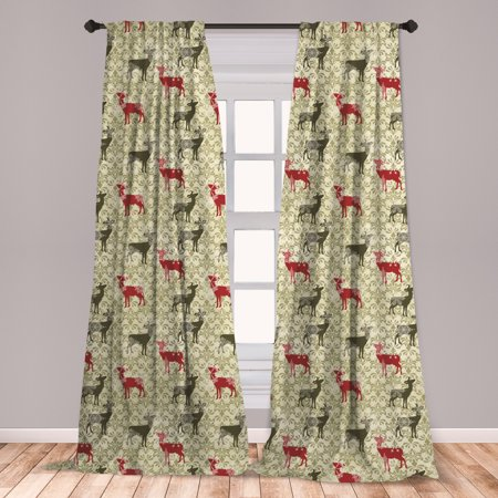 Deer Curtains 2 Panels Set, Damask Pattern and Ornate Christmas Themed Animal Silhouettes, Window Drapes for Living Room Bedroom, Olive Green Pale Green, by Ambesonne ()